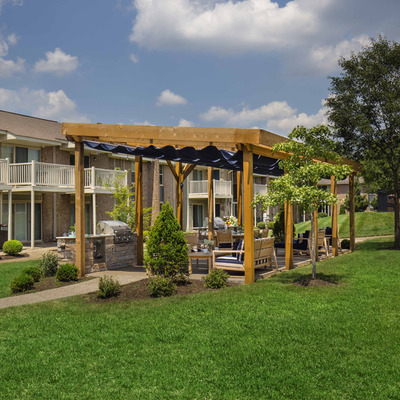 gazebo with outdoor seating