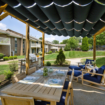 outdoor seating under gazebo